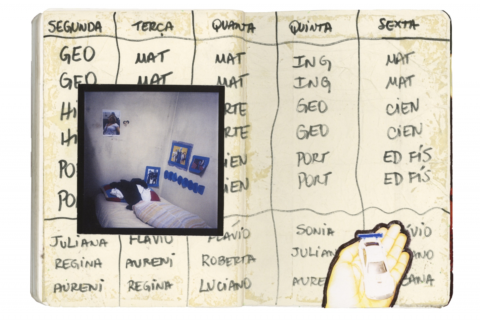 Collage with a photograph that shows a child's bed, over a school schedule recovered from the squat.