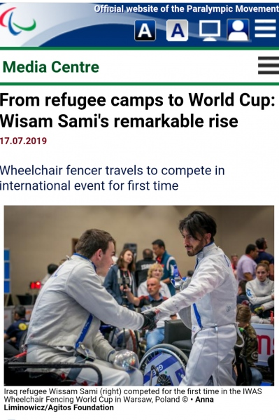 Assignment for AGITOS FOUNDATION (  Paralympic.org  ). Iraq refugee Wissam Sami competed for the first time in the IWAS Wheelchair Fencing World Cup in Warsaw, Poland.