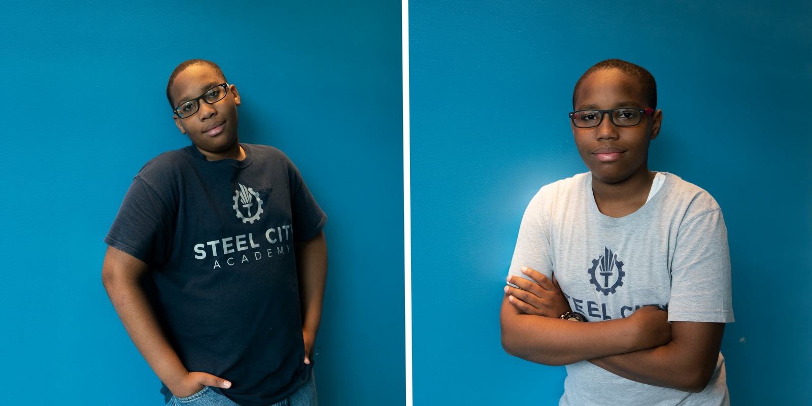 Brothers Evan and Erin Addison, students of the Steel City Academy in Gary, Indiana, pose for portraits.