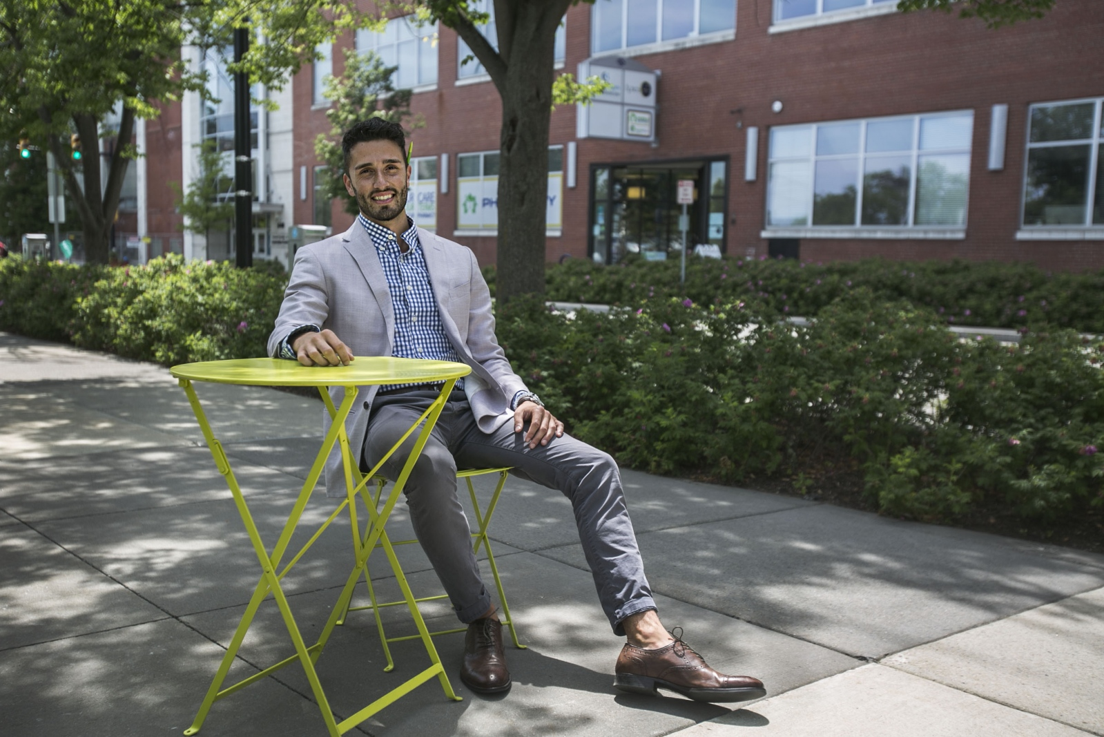 Brian J. Straka, director of Portfolio Recruitment & Selection at 43North, takes a seat outside his office building in Buffalo, N.Y.