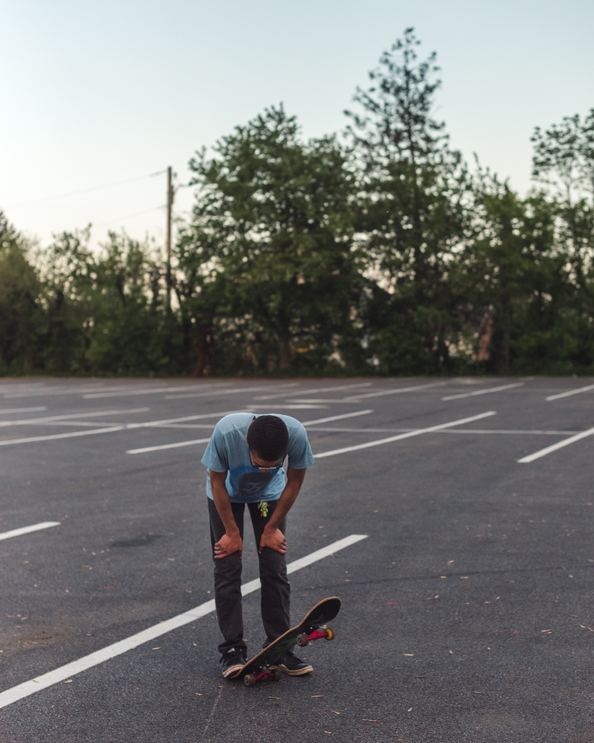 Jamesy catching his breath from skating, 2019