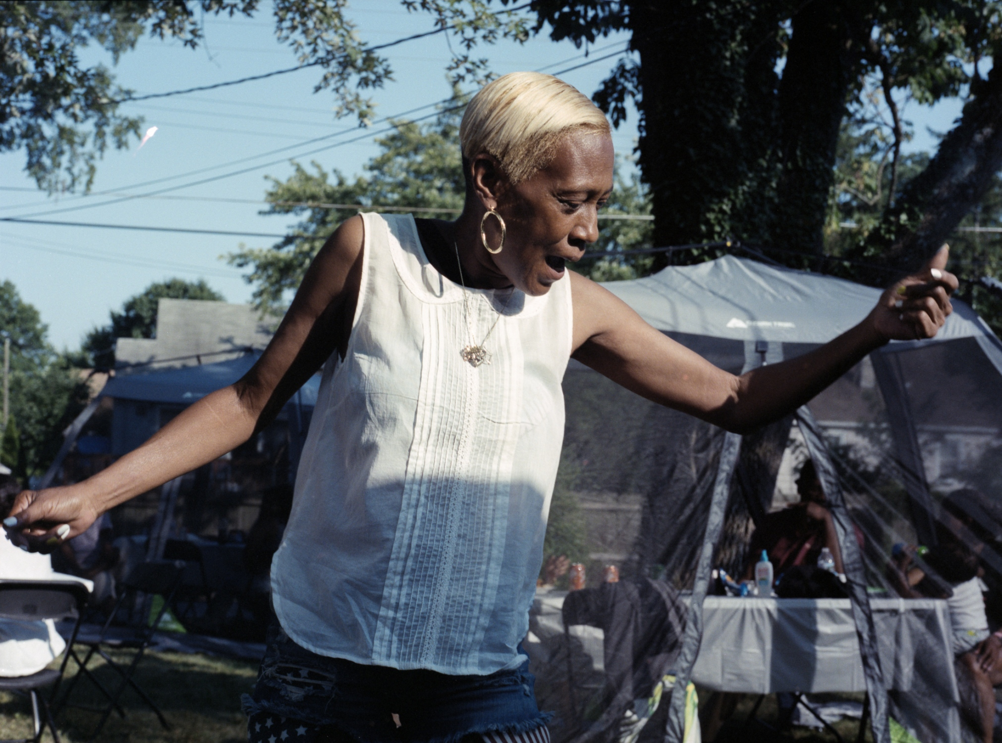 Aunt Cheryl dancing at the Family Cookout, 2018