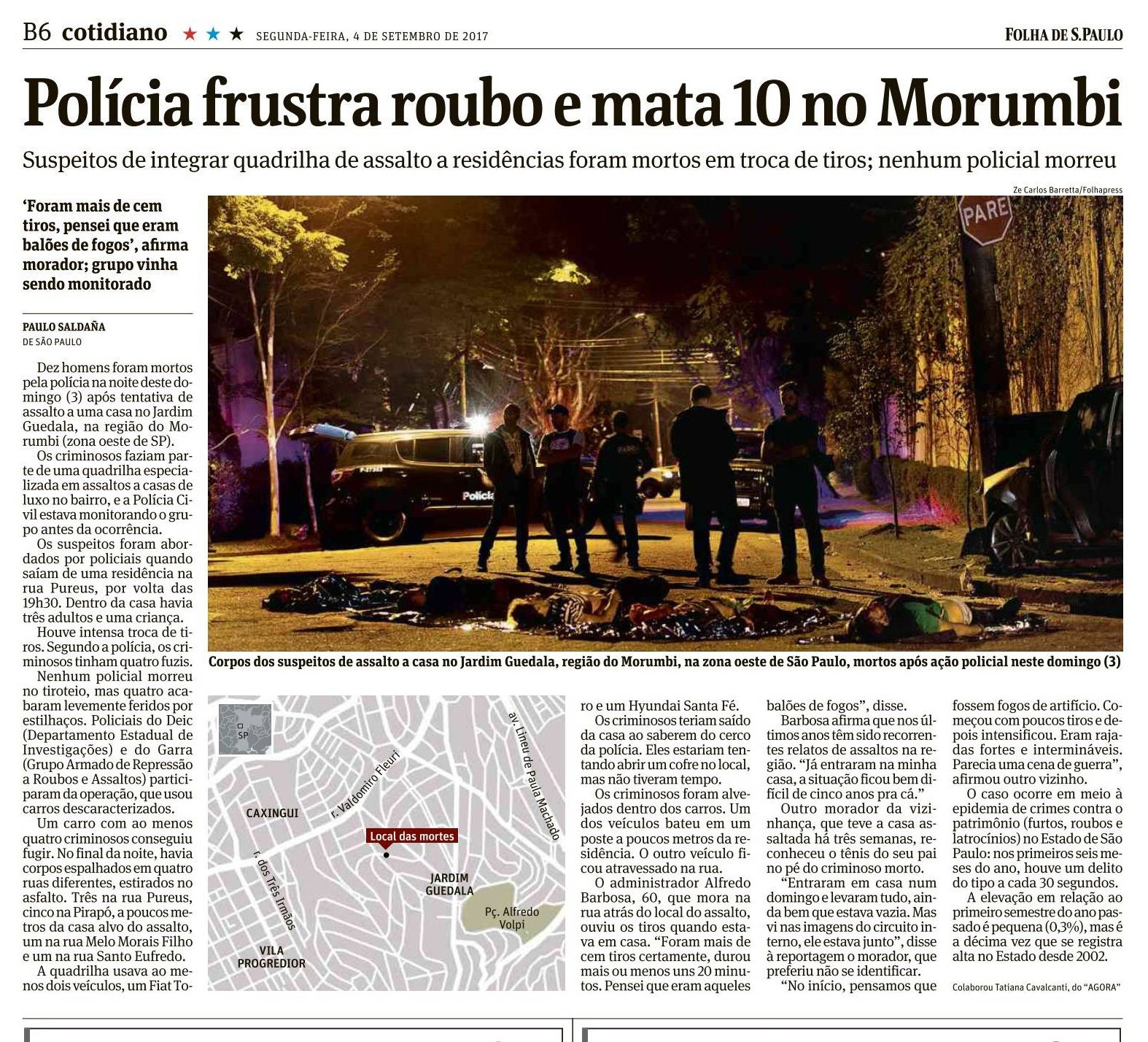 Publicação sobre violência no caderno Cotidiano da Folha de São Paulo (2017) / Publication about violence in Folha de Sao Paulo newspaper (2017)