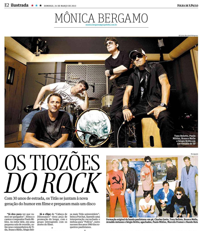 Publicação retrato na coluna Mônica Bergamo, caderno Ilustrada da Folha de São Paulo (2013) / Portrait of 'Titãs', rock band in Monica Bergamo column, Folha de Sao Paulo newspaper (2013)