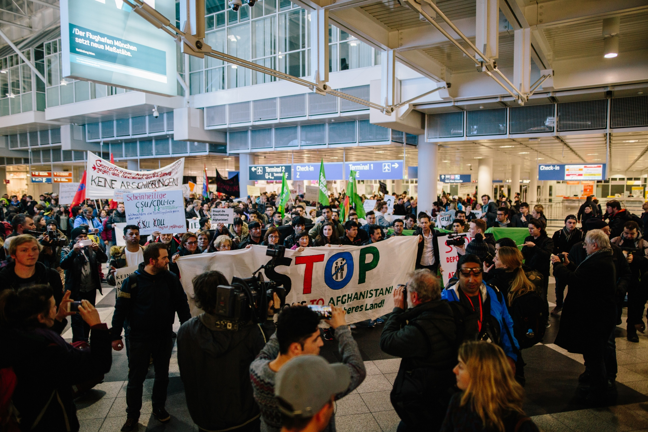 Protest against deportations to Afghanistan at Munich airport. February 22nd, 2017