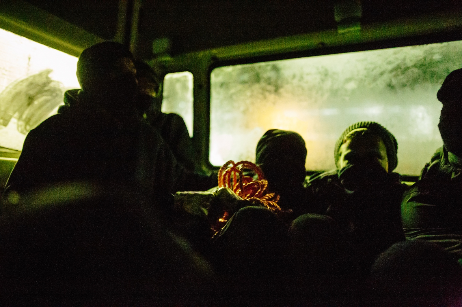 A group of activists sits in the back of a van underway to perform a direct action against infrastructure of Neurath power plant. 10-06-2018