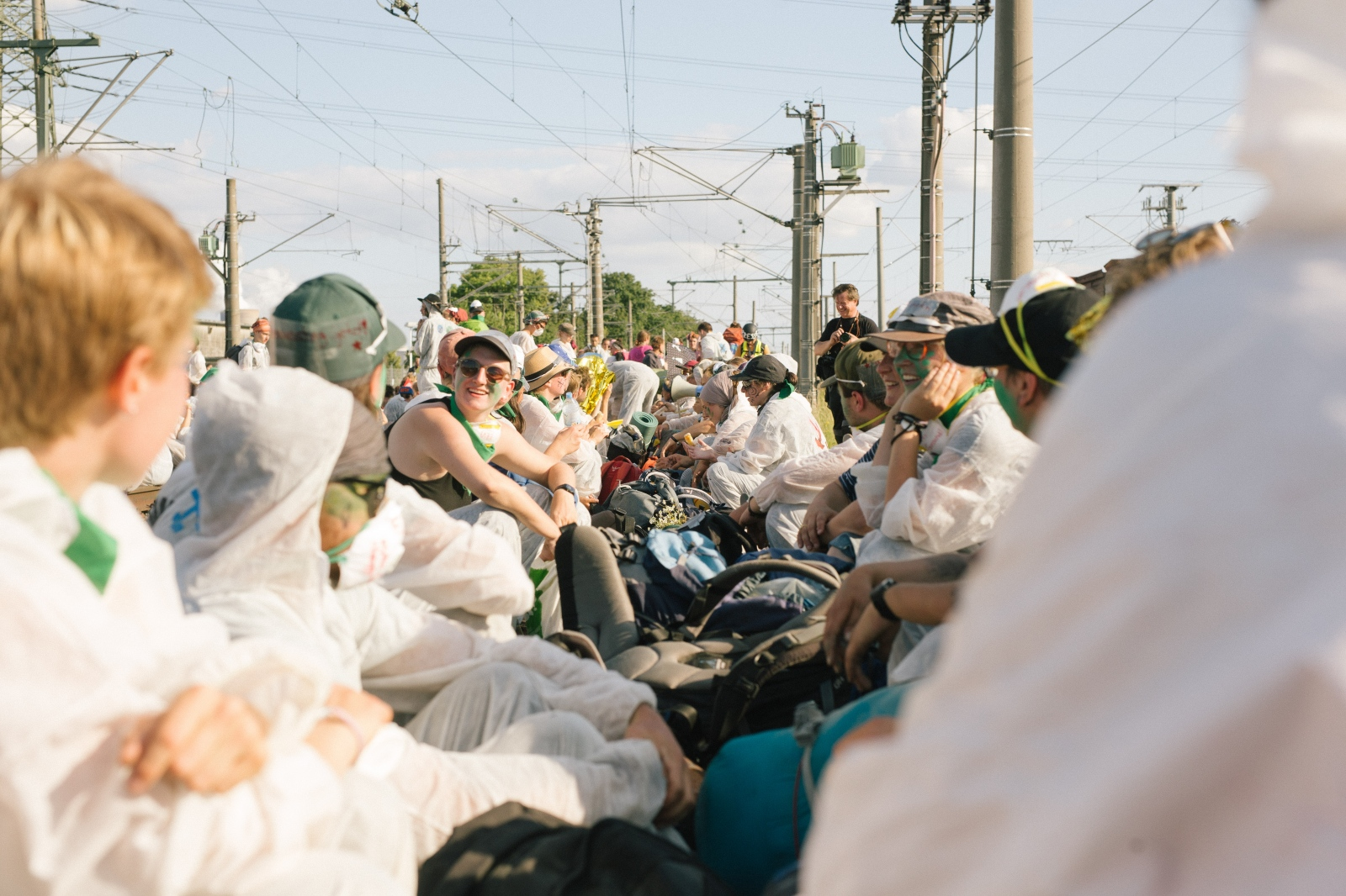 Sit-in on the train tracks of the so-called coal-train near Kraftwerk Neurath. 06-21-2019