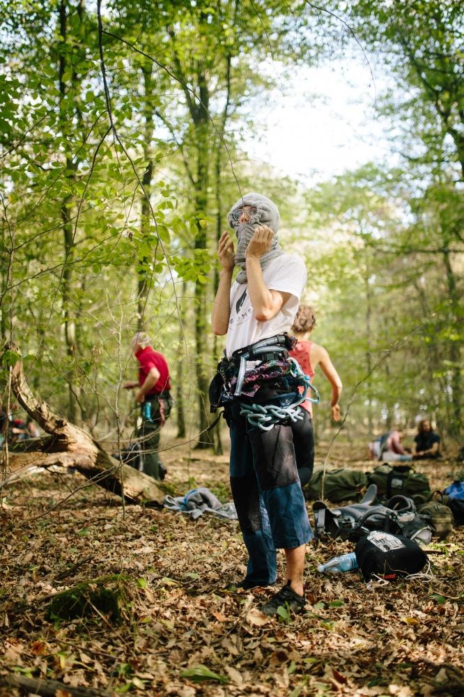 Activist prepares to climb a tree. 10-06-2018