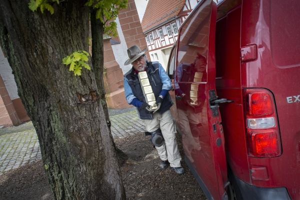 German Conceptual Artist Gunter Demnig unloads the Stolpersteine from his van in Treysa, in the German District of Schwalmstadt.