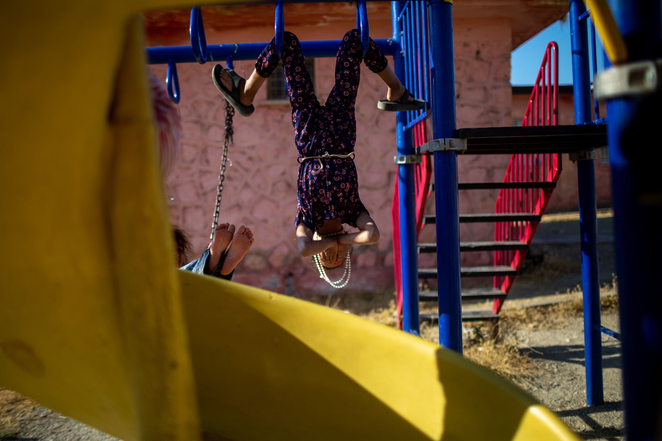 Young children play in the schools's playground during the summer recess. Their village is one close to Hasankeyf and in the flood zone. They will have to move before the flood waters from the Ilisu Dam's artificial lake arrive.