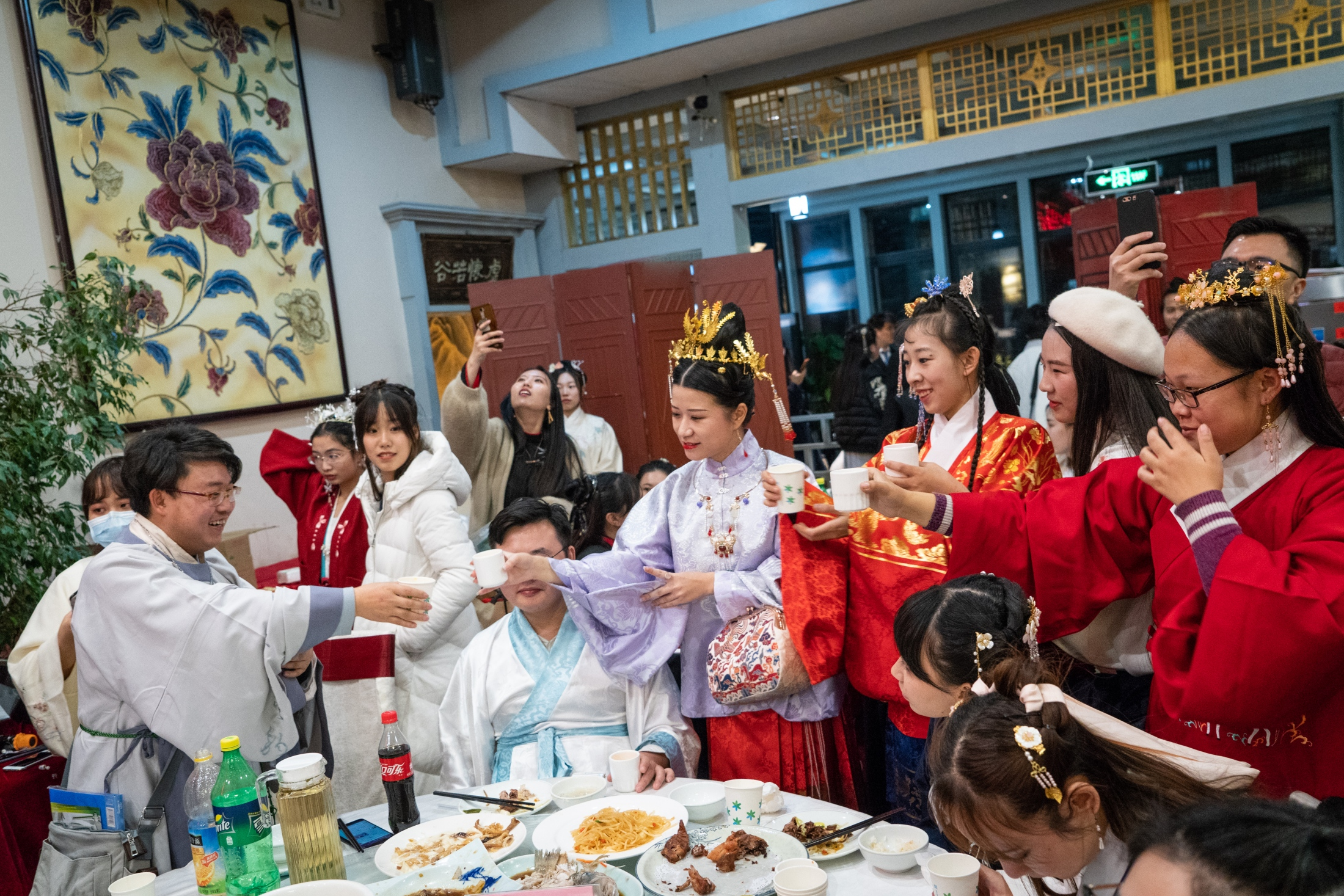 Hanfu enthusiasts at a dinner in Beijing, November 2018.