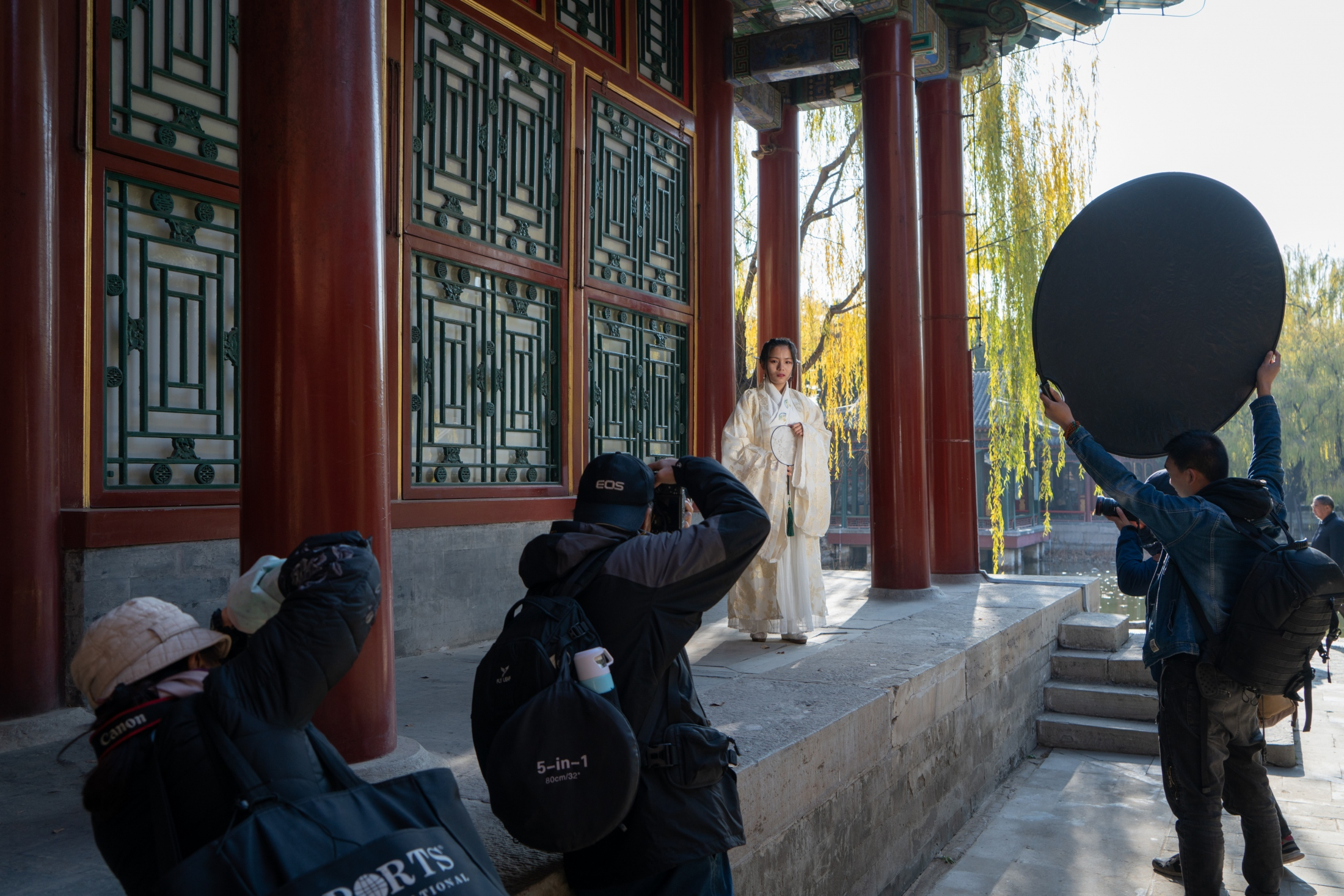 A woman in Hanfu-style attire posing for photographers this month in the Summer Palace in Beijing.