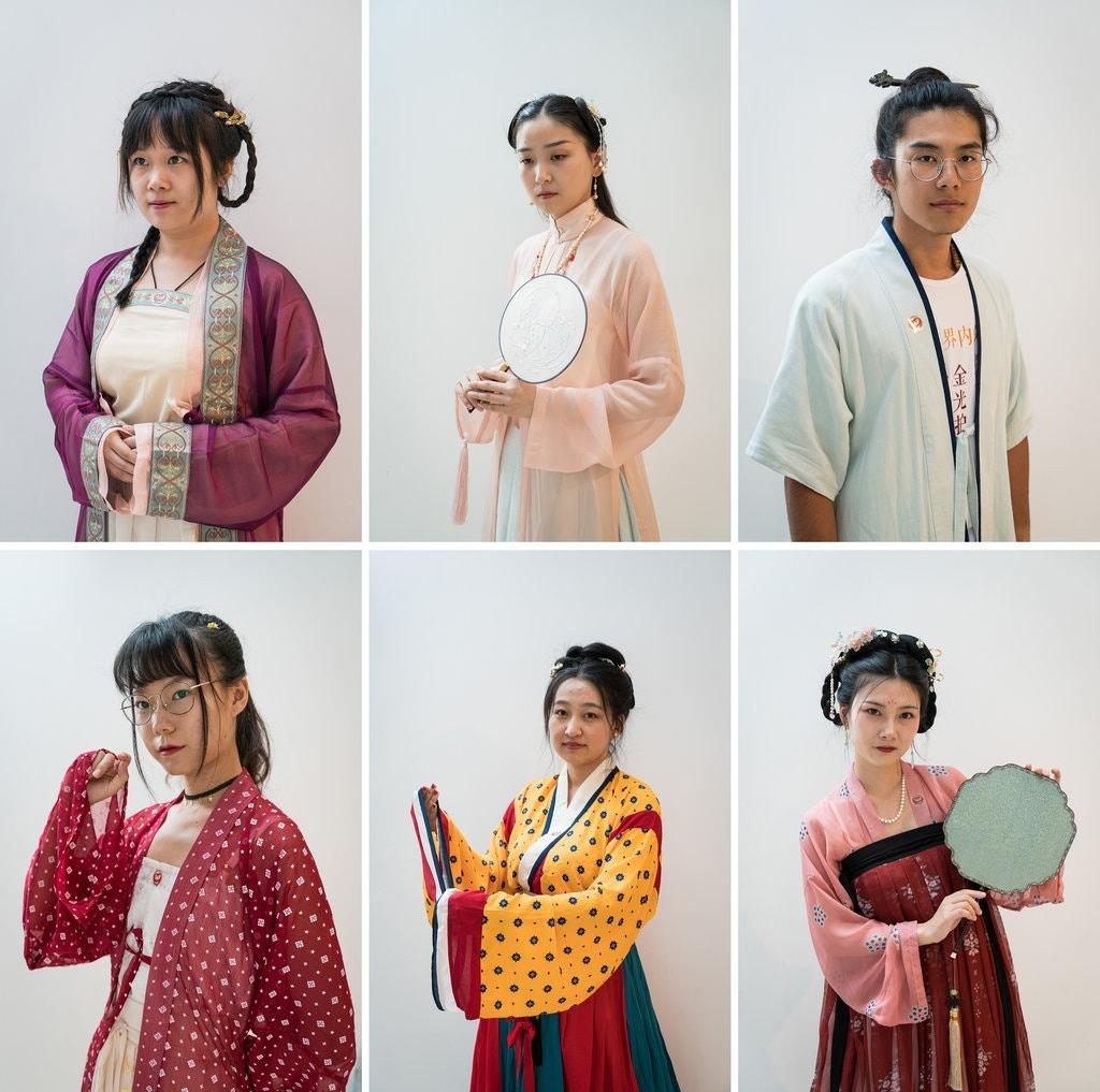 Hanfu devotees. Clockwise from top left: Yan Zhenzhen, 23; Deng Xiaofan, 21; Chen Yue, 21; Wang Xin, 25; Xu Gangyu, 23; Yue Qiwu, 24.