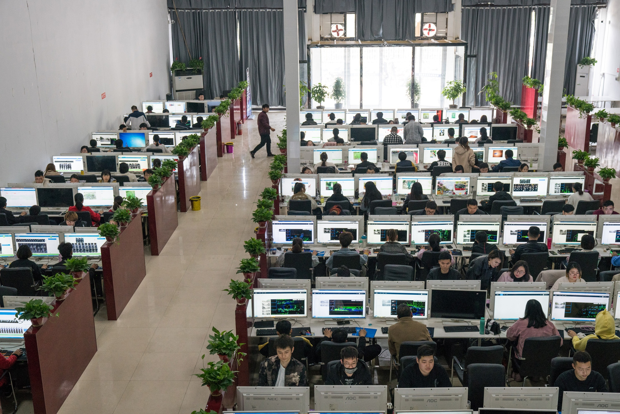 Workers at the headquarters of Ruijin Technology Company in Jiaxian, in central China's Henan Province. They identify objects in images to help artificial intelligence make sense of the world.