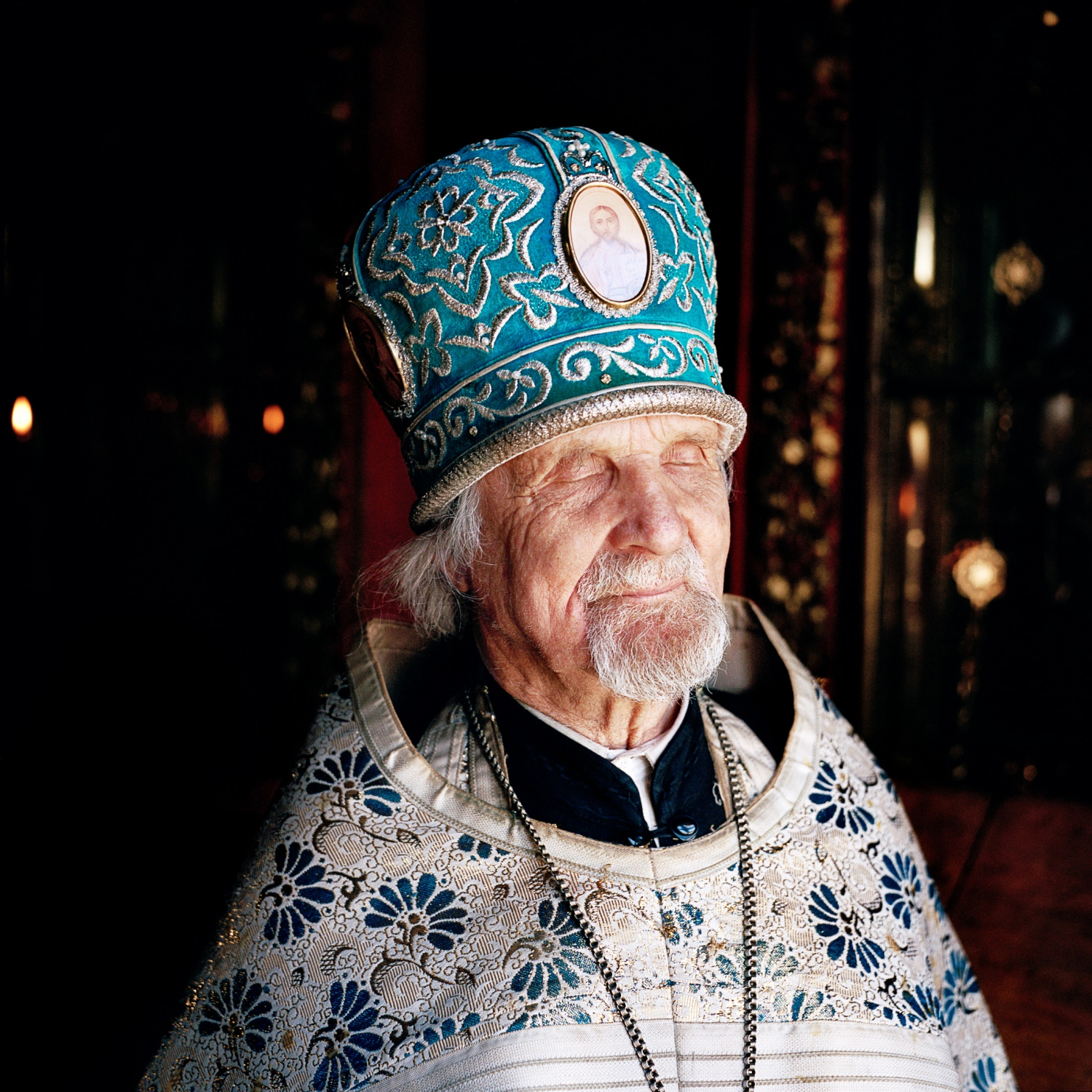 "Father Jevgeni, an 85-year-old priest of the ""half-believers,"" has been officiating at the Petseri Varvara Church—now on the Russian side of the border—for the past 40 years. But he's been a priest for much longer. ""It will be 70 years now that I officiate,"" he says. ""I started 40 years ago in Varvara Church because I was the only one who could do it in Estonian. Back then half of the church was Seto, and the choir sang in Estonian—the prayers were said in Estonian. But nowadays there is no point to officiate in Estonian anymore."" Few Estonian speaking Setos are now found on the Russian side of the border."