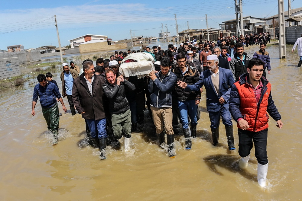 funeral of the martyr Salim Sufiani 27 years old . salim was drowned 8 days in the flood and His body was discovered near the sea by people . Gulistan