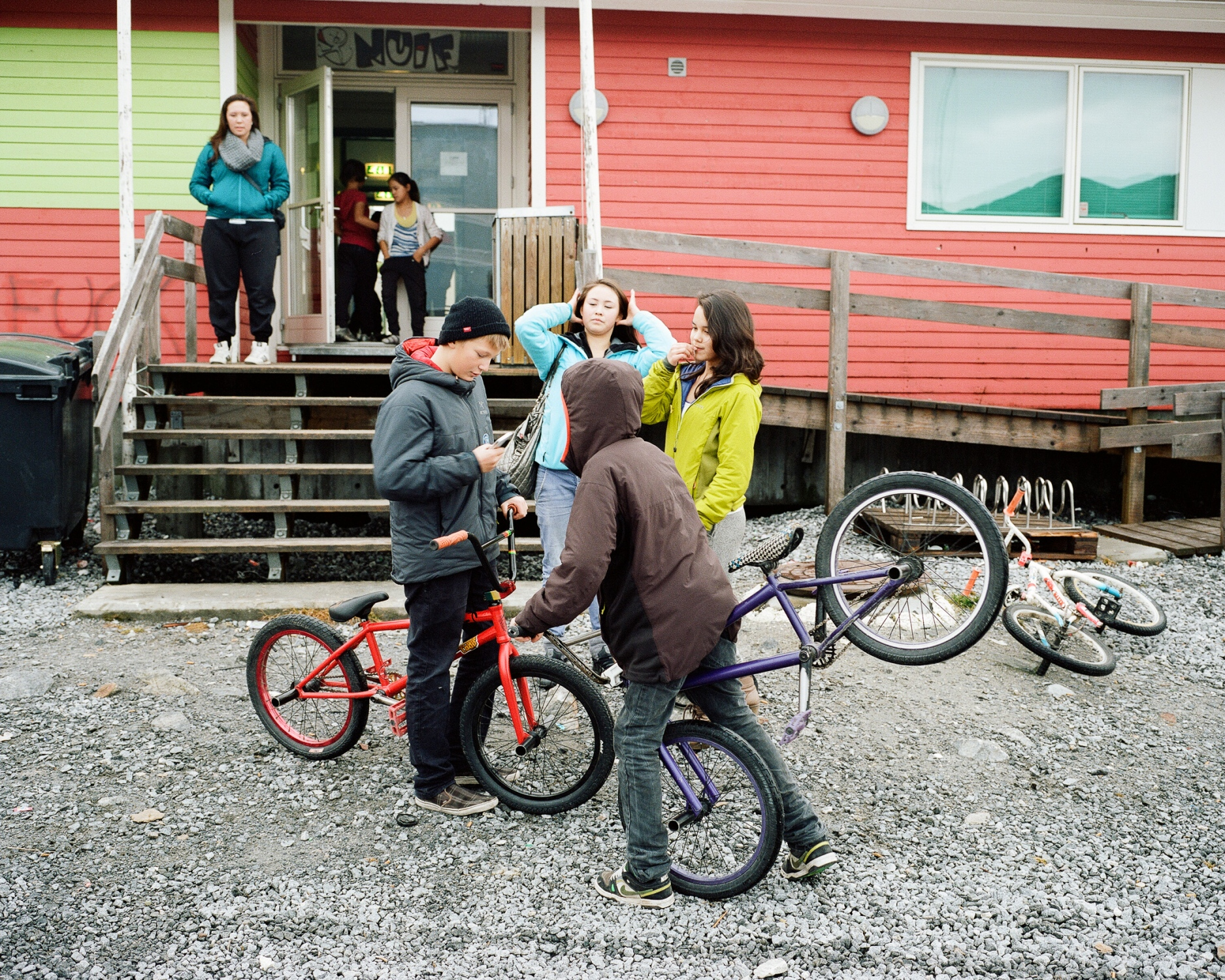 Today most of the youngsters turn away from the traditional Inuit lifestyle attracted by westernized culture such as in the USA or in Denmark where they usually go to study if they follow a curriculum at the university. After a breakdance class, youngsters in front of the Nuuk youth center. Nuuk is the capital and administrative center of Greenland concentrating the home rule government institutions.