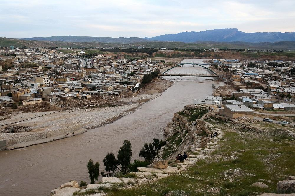 A view of Poldokhtar city .17 rural and urban bridges and more than five thousand homes, schools and training centers of Poldokhtar city have got water or have been destroyed. Lorestan