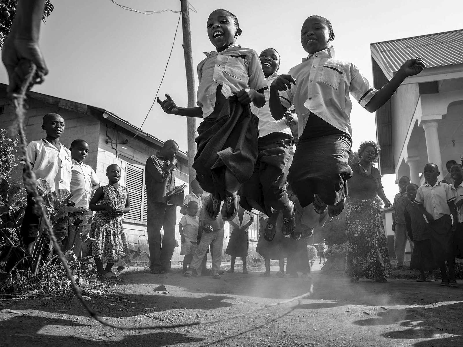 Children jump in unisom at St. Kizito Orphanage in Bunia, DR Congo, December 2016.