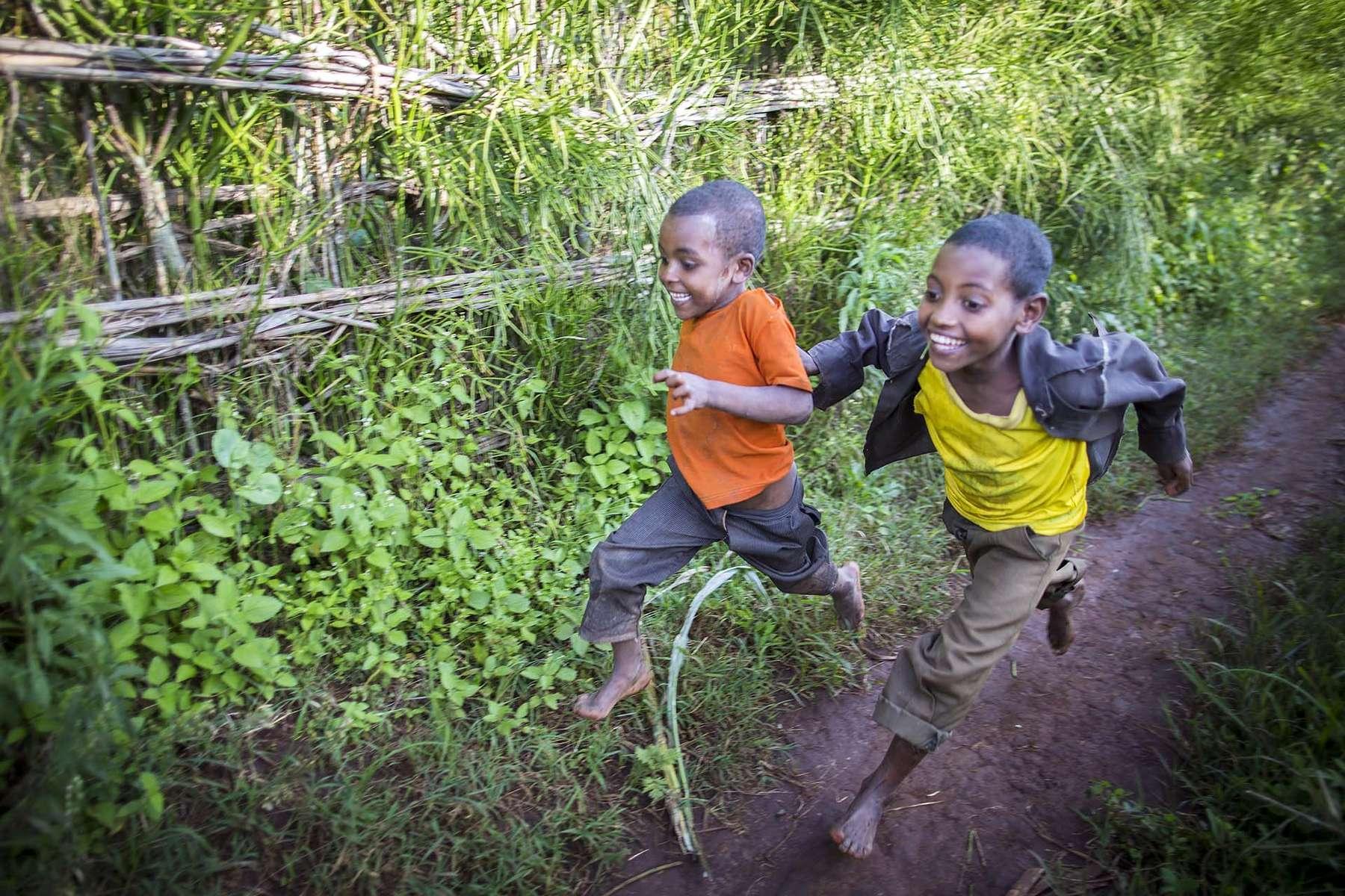 Children play near Kitmbile Health Post in Jimma Zone, Oromia State, Ethiopia, 27 August 2013.