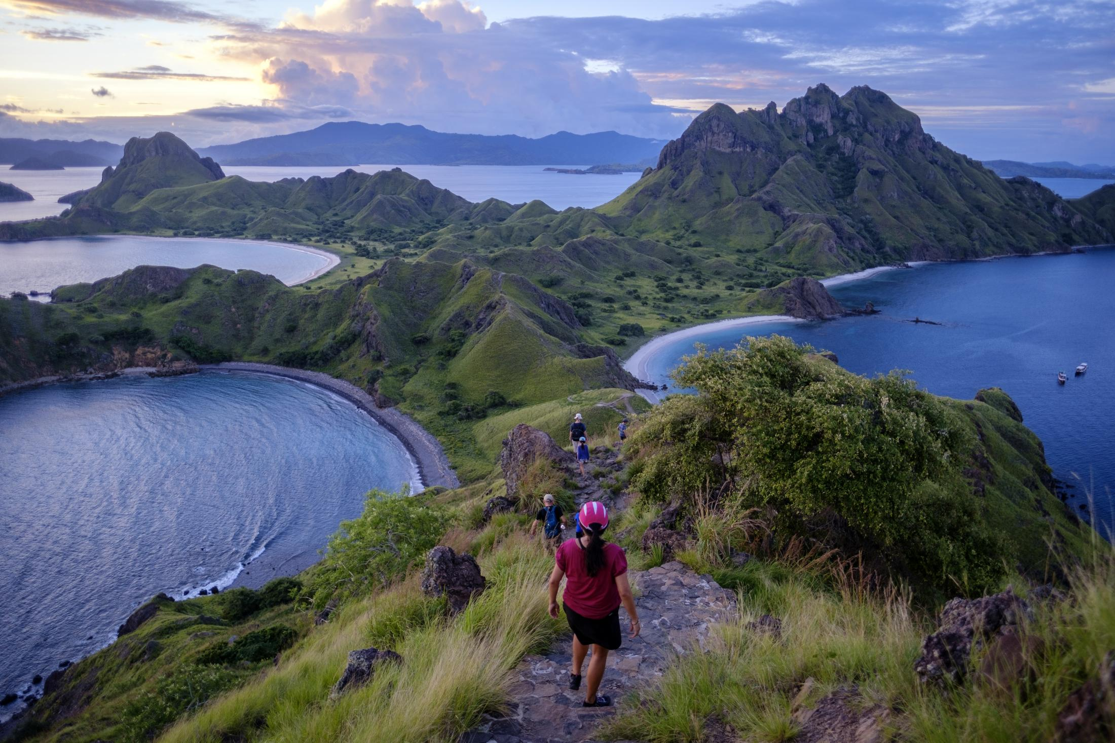 A breathtaking view from Padar Island. It is a small island located between Komodo and Rinca islands within Komodo archipelago, administered under the West Manggarai Regency, East Nusa Tenggara, Indonesia. It is the third largest island part of Komodo National Park.