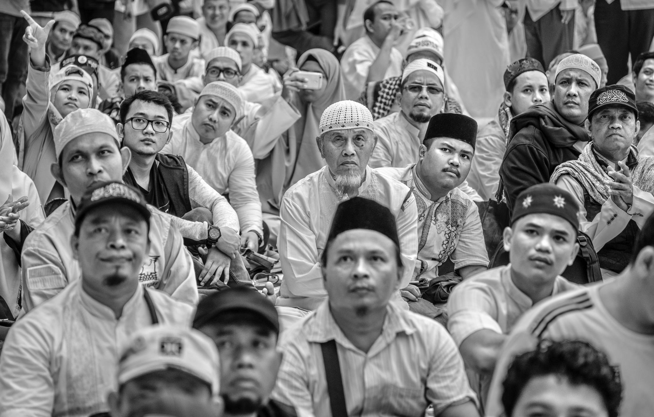 Supporters of former general and the presidential candidate Prabowo Subianto at a rally held in Jakarta, Indonesia 6 April 2019. He was beaten by Joko Widodo, know as Jokowi. Prabowo was backed by conservative and religious hardliner for his run.