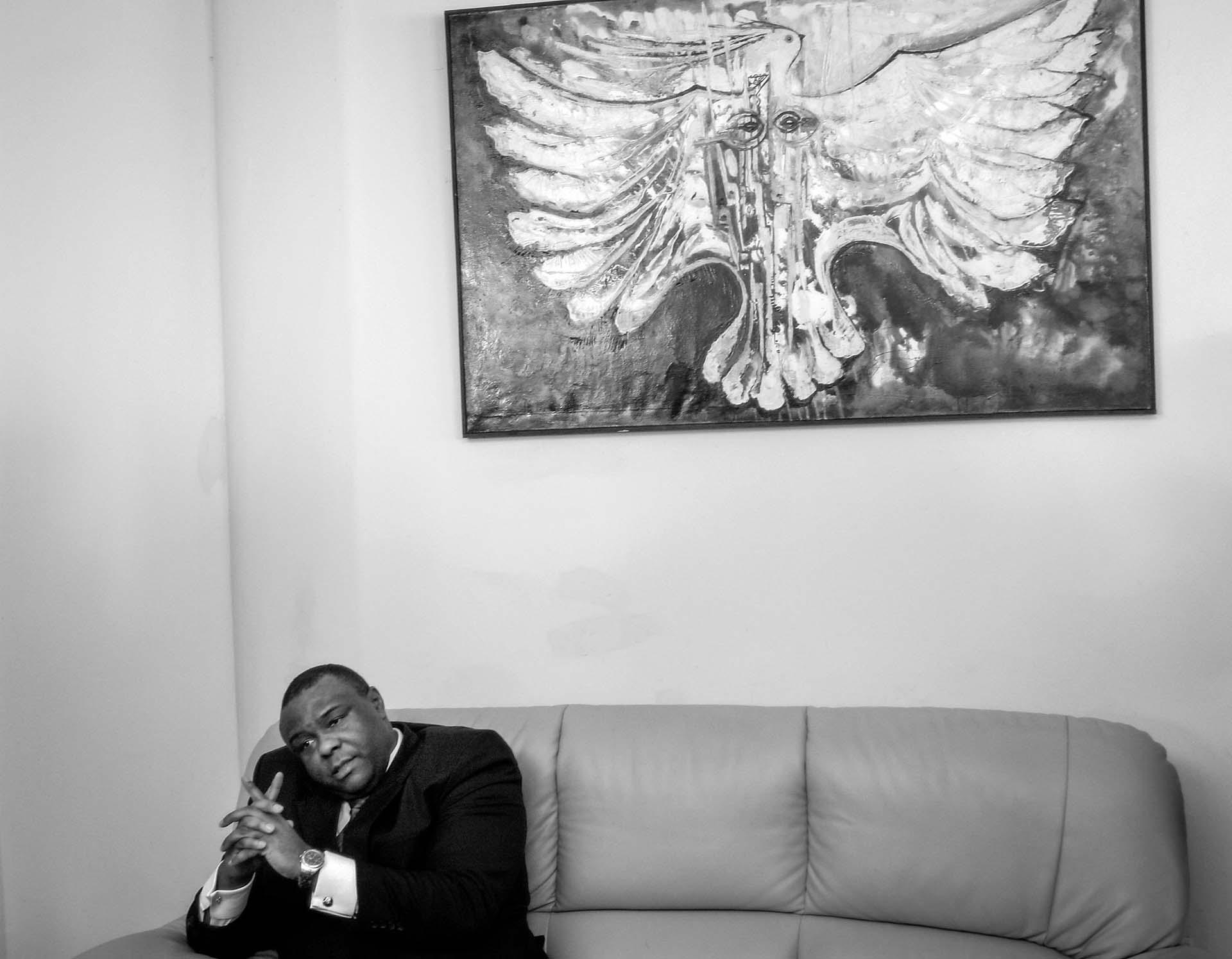 Jean Pierre Bemba, then vice president, former warlord, and presidential candidate, at his office in Kinshasa, after losing his bid to the Presidency. He was convicted in 2016 for failing to prevent his militia from committing crimes against humanity in the CAR that included murder, rape, and pillaging. He had been sentenced to 18 years in prison. However he was released after shocking reversal of his conviction by the ICC Appeals Chamber in 2018.