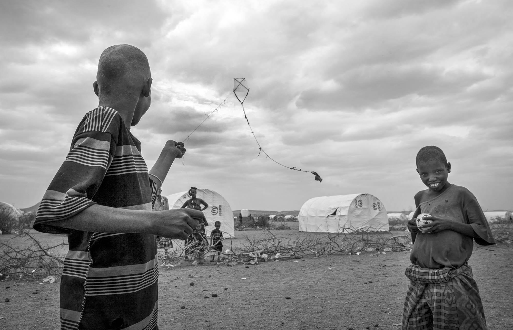 Children try to bring sense of normalcy in Kobe Refugee Camp in southeastern Ethiopia, a few  12, 2011.