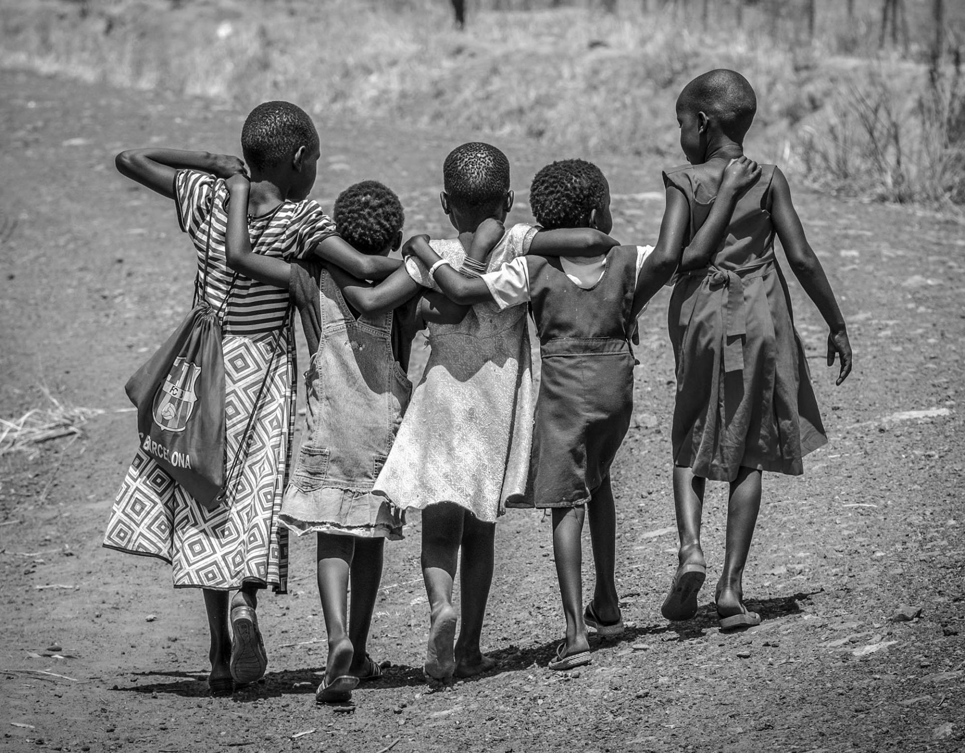 Pupils walk home together after school in Nyumanzi refugee settlement on March 2, 2017. Perhaps the next generation of South Sudanese who are learning to peacefully coexist can rebuild their nation when the fightings stop.