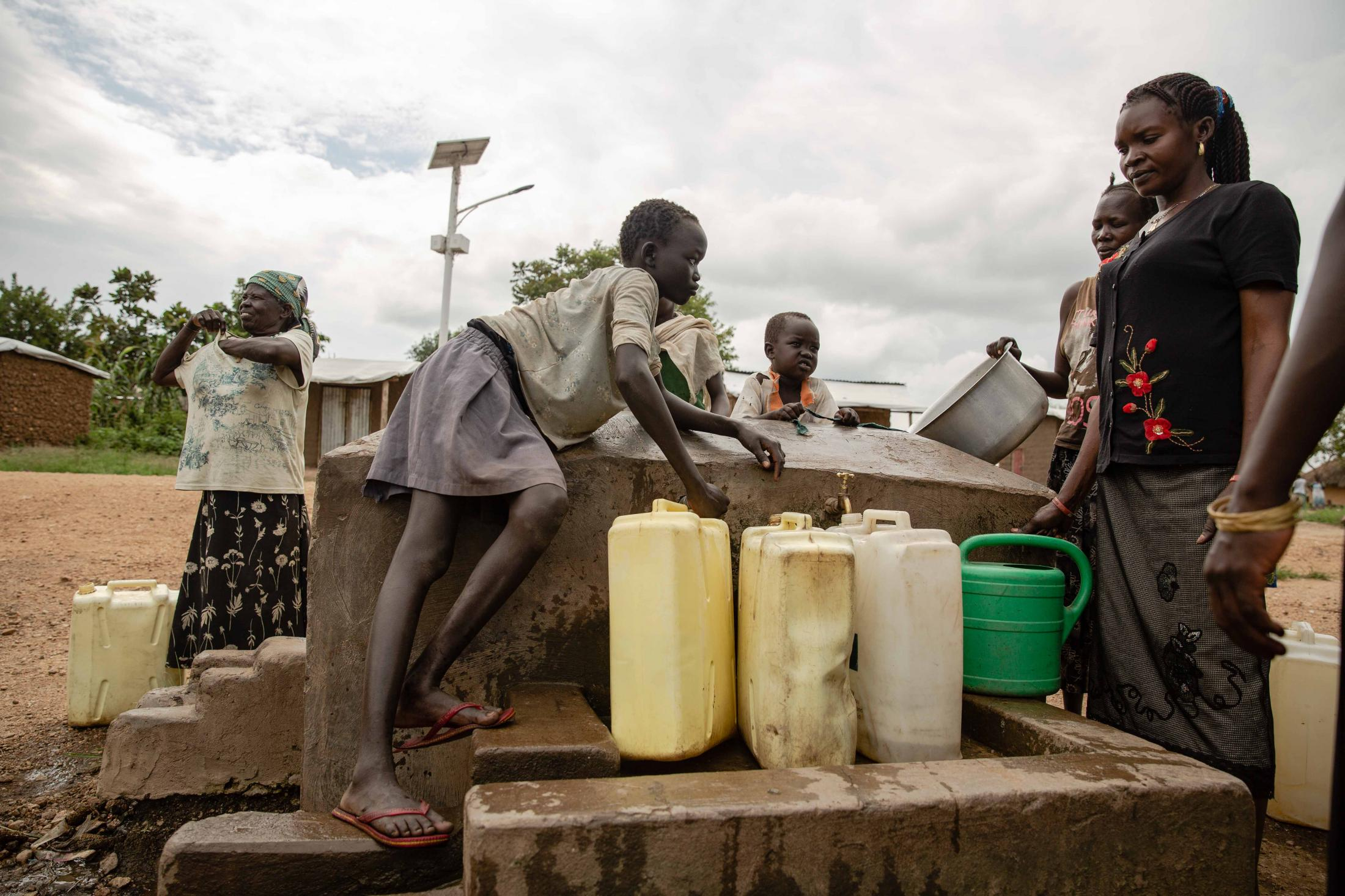 A water point in Bidibidi refugee settlement constructed by NRC. For Norwegian Refugee Council.