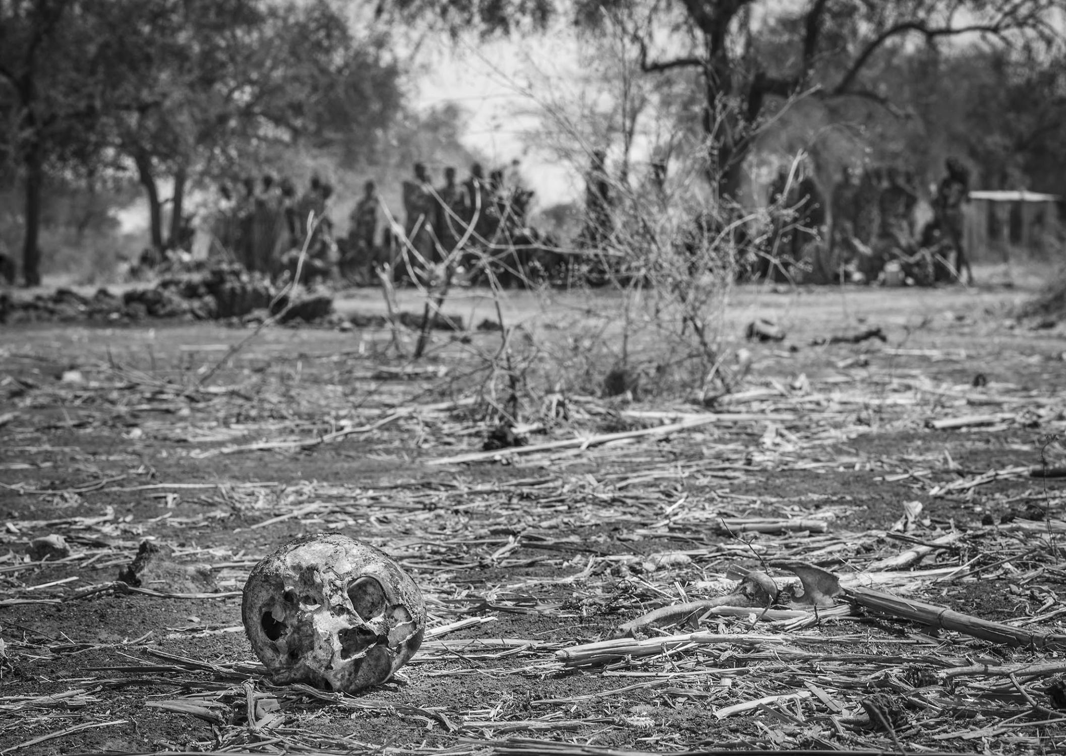 A skull of an elderly man lies 200 meters from a UN Peacekeepers base in a village outside Pibor, South Sudan in January 2012. Only a half year after South Sudan's independence, a group of ethnic Lou Nuer raided the village of ethnic Murle, the man's hut was set alight with him in it.