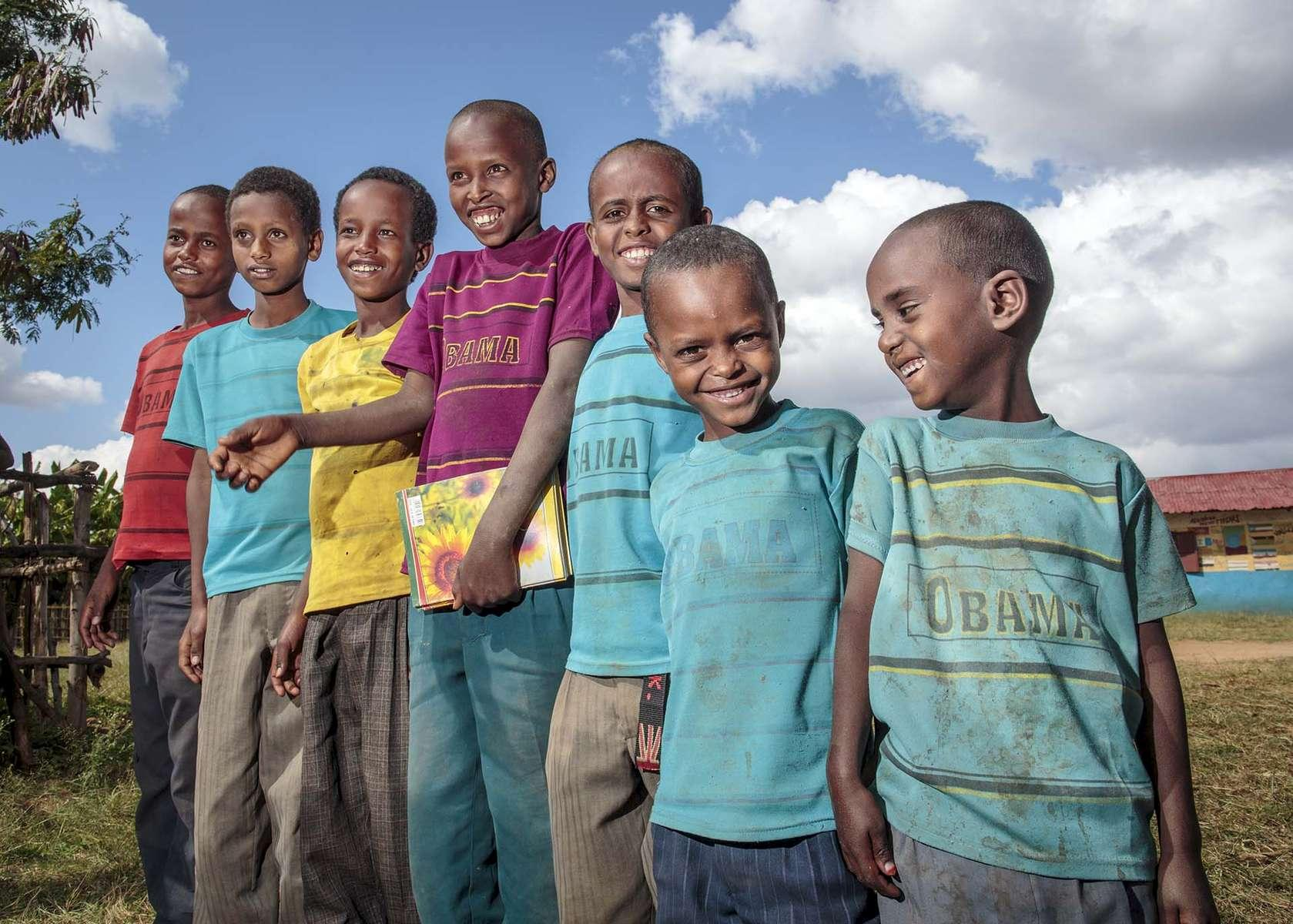A fashion trend is evident at Oda Aniso Primary School in Oromia Region of Ethiopia, November 26, 2013.