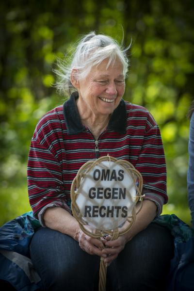 Grannie Christa Becker from  Gießen at Omas Gegen Rechts (Grannies against the Right) at the  May Day Anti Björn Höcke (of the AfD) demonstration in Erfurt, Germany.