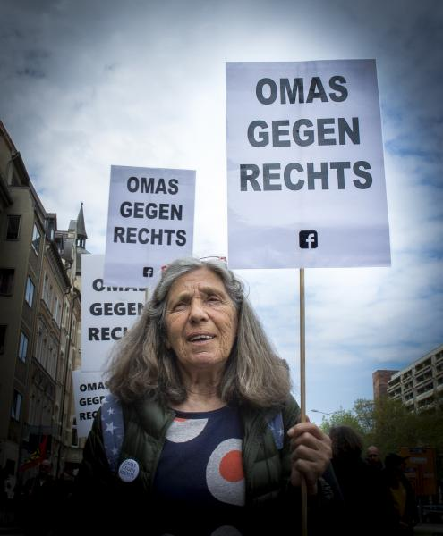 Grandmother Sabine Baur at the May Day Anti Björn Höcke (of the AfD) demonstration in Erfurt, Germany.