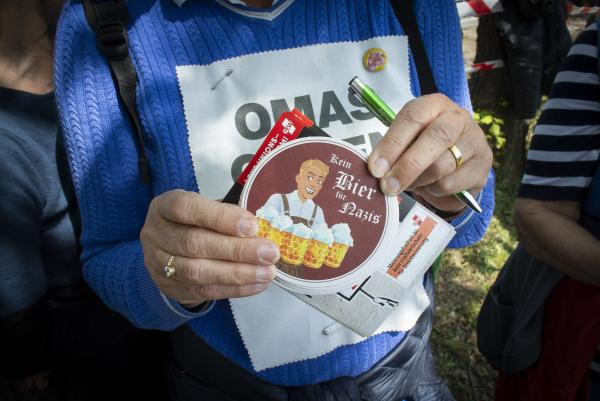 No beer for Nazi's as Omas gegen Rechts (Grannies against the Right) march at the  May Day Anti Björn Höcke (of the AfD) demonstration in Erfurt, Germany.