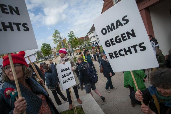 Grannies of the March. Omas Gegen Rechts (Grannies against the Right) at the  May Day Anti Björn Höcke (of the AfD) demonstration in Erfurt, Germany.