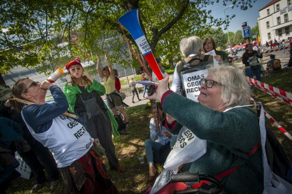 Making noise. Grannies of the March. Omas Gegen Rechts (Grannies against the Right) at the  May Day Anti Björn Höcke (of the AfD) demonstration in Erfurt, Germany.