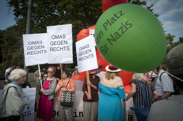 Omas Gegen Rechts- 'Grannies against the Right' alongside Greens, SPD, Die Linke and associated Churches and Trade Unions protest against 'The Hess March' by the far right through Spandau, Berlin. I
