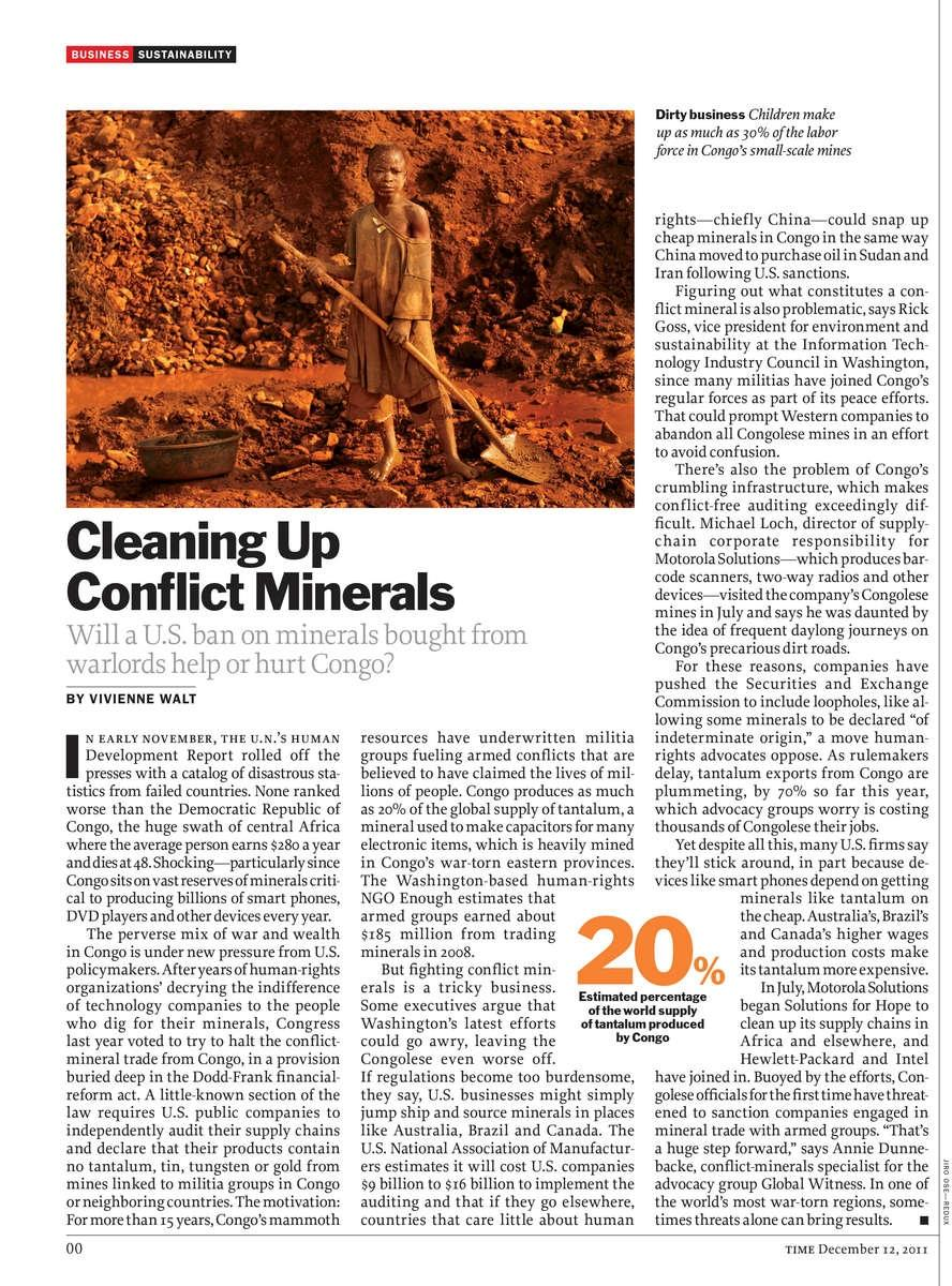 Time Magazine, Conflict Mineral