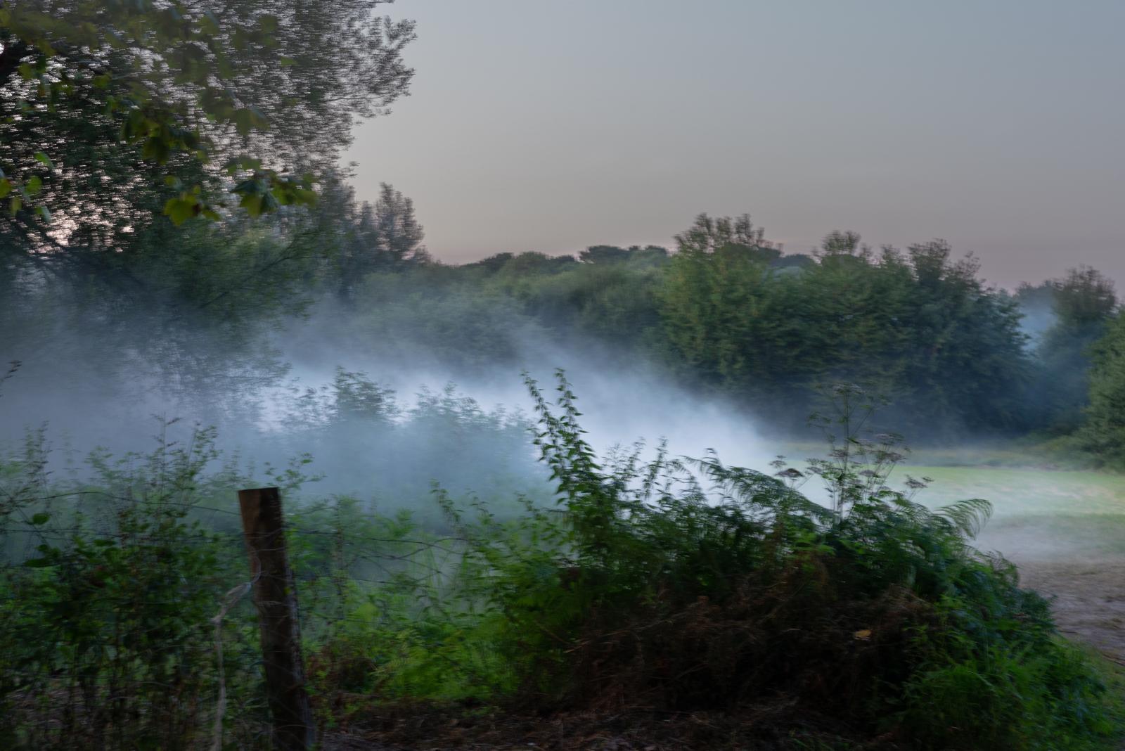 Vendredi 23 août 2019 - Tir de gaz lacrymogènes dans la campagne aux abords du campement des opposants au G7. [G7 2019 de Biarritz]
