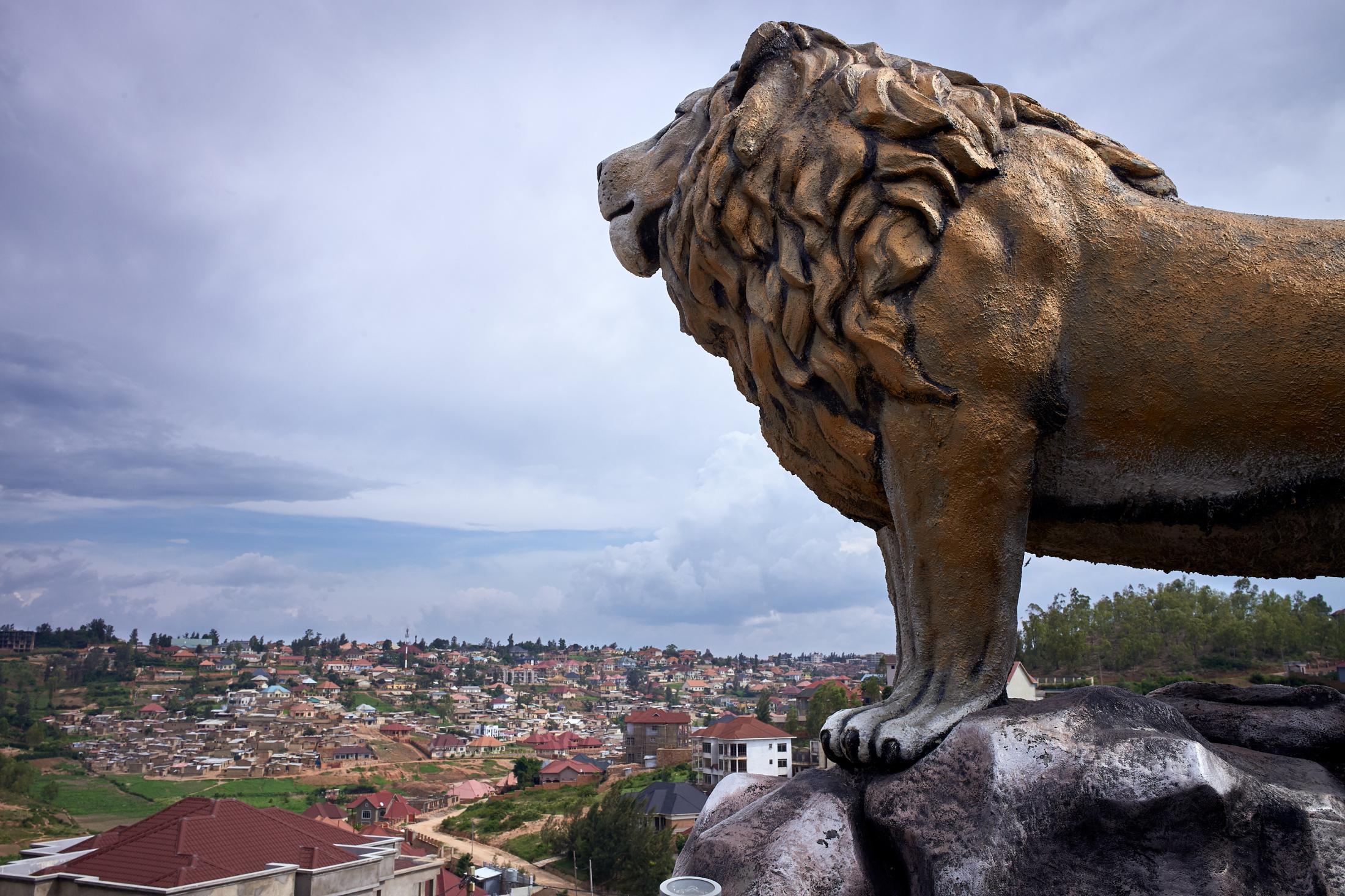 of a thousand hills and a lion, kigali, rwanda.