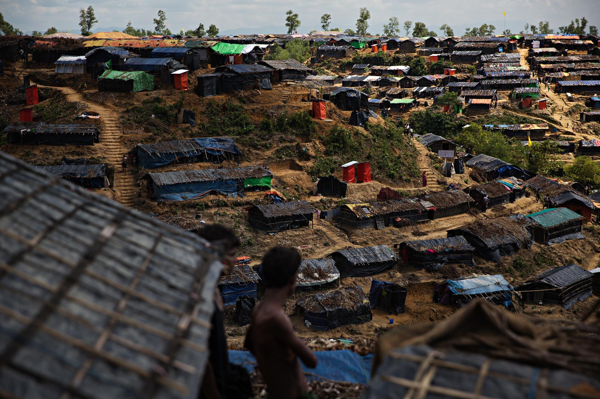 Makeshift huts are seen in a Rohingya refugee camp outside of Cox's Bazar, Bangladesh. These are just a small handful of the hundreds of thousands of tents and lean-tos setup throughout the hills and valleys.