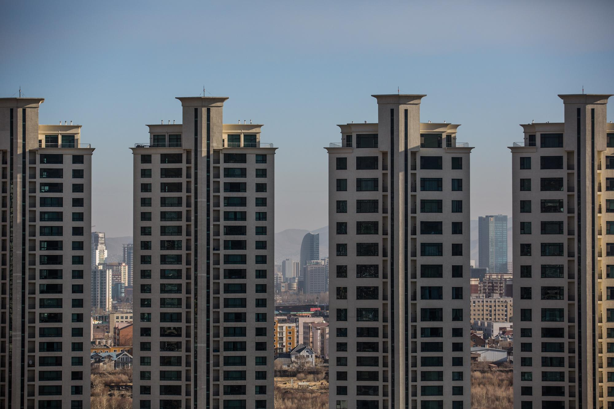 New high-rise buildings are seen in Ulaanbataar, Mongolia. Rapid, urban development mixed with a traditional diet of meat and fried bread is a leading cause of hypertension and high blood pressure in Mongolians.