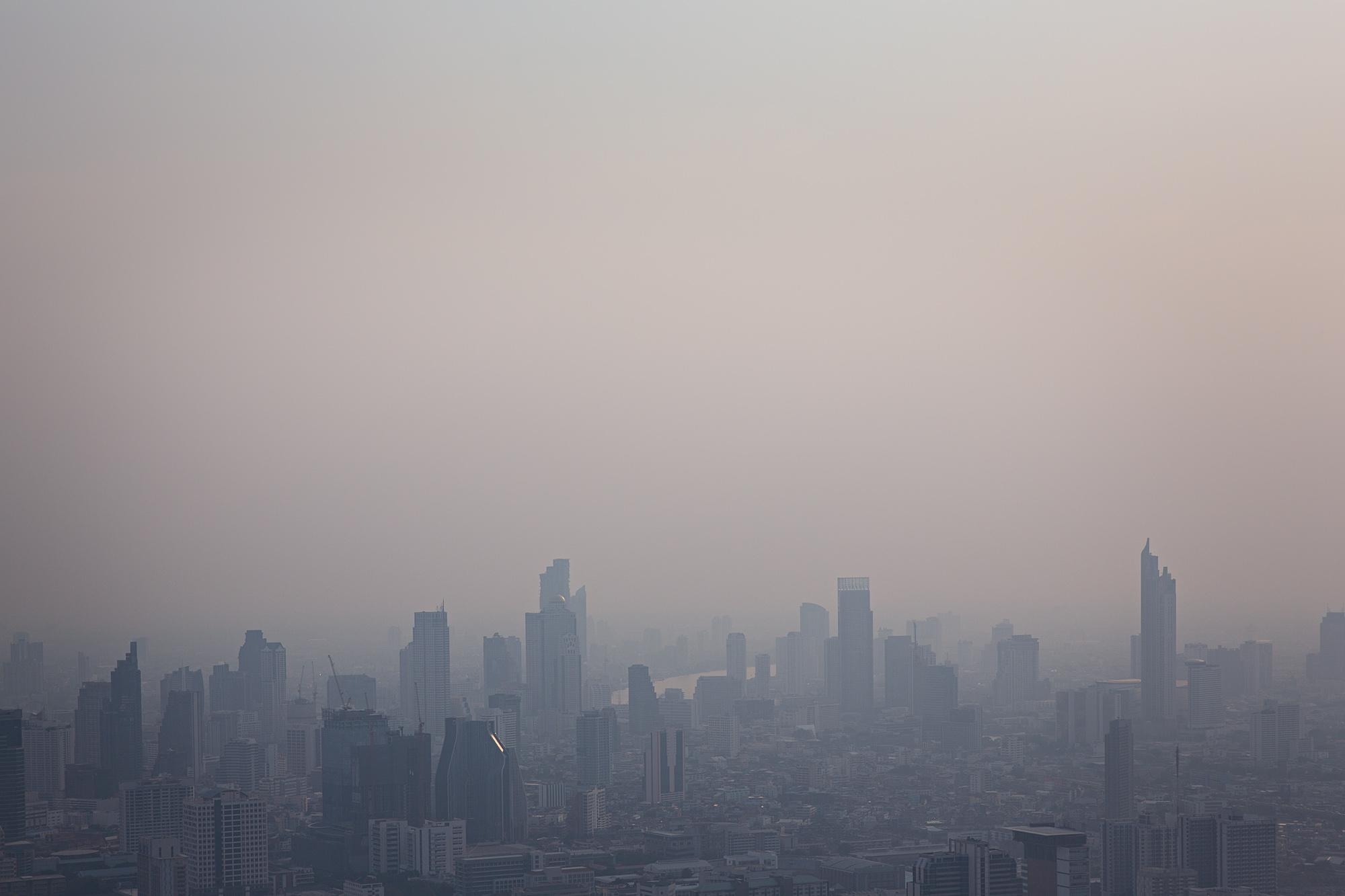 Severe smog is seen over Bangkok, Thailand.