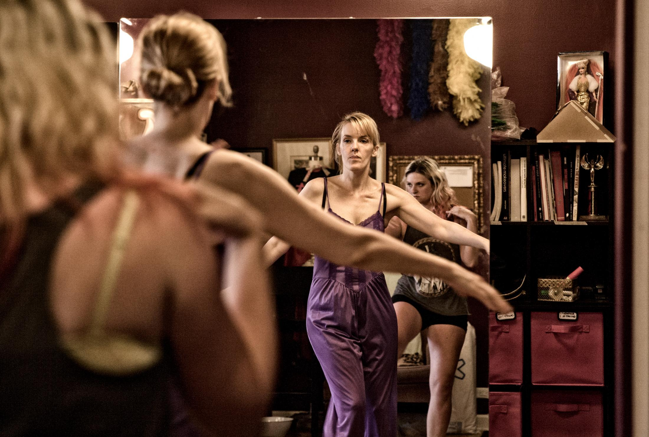 Training and fitness is important and Red hot Annie trains and practices new acts in her studio along with other cast members.