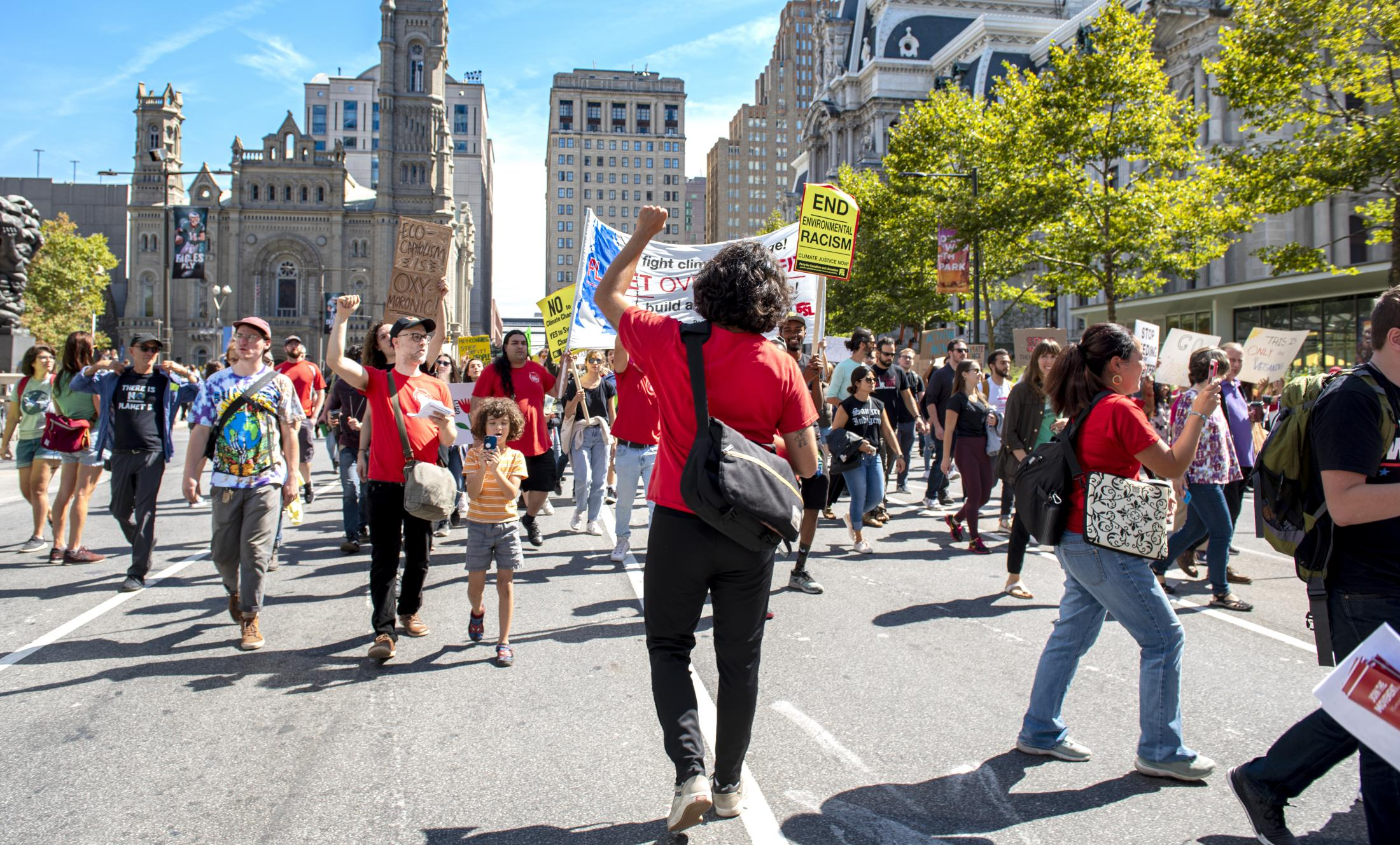 Protestors gather at City Hall for a global, youth-led demonstration protest related to climate change in Philadelphia, Sept. 19, 2019.