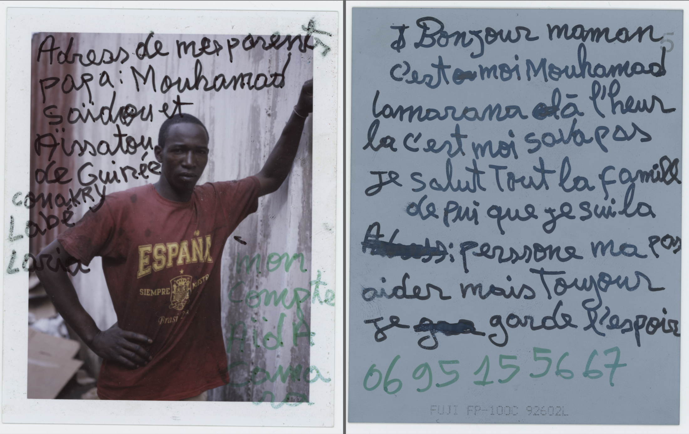 My parent's address Dad: Mouhamad SaMouhamad  Saïdou y Aïssatou from Guinea Conakry Labé Laria  My Account  Aïda Comarana Good Morning Mom, it's me,  Mouhamad Camarana. Now I'm not good. Say hi to everyone for me, nobody help me here but I keep my strenght and hope