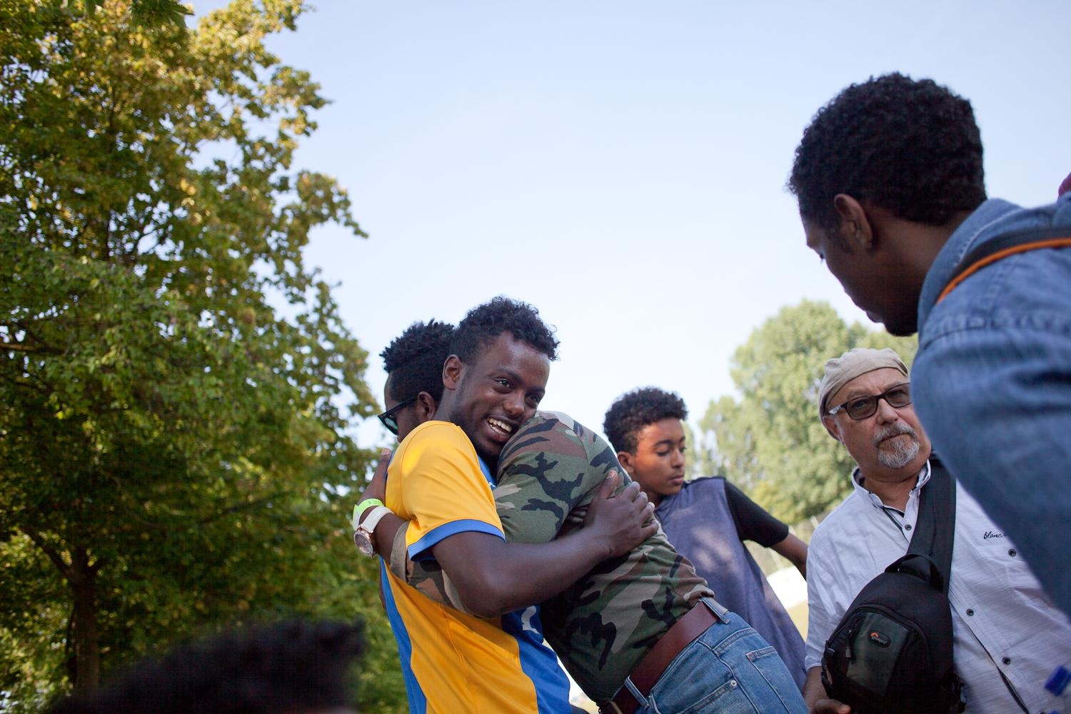 Mikiyas runs into a neighbour from the village in Eritrea that he grew up in. Much more than a mere sporting event, the annual football cup serves to consolidate the feeling of community among the Habesha diaspora in Europe.
