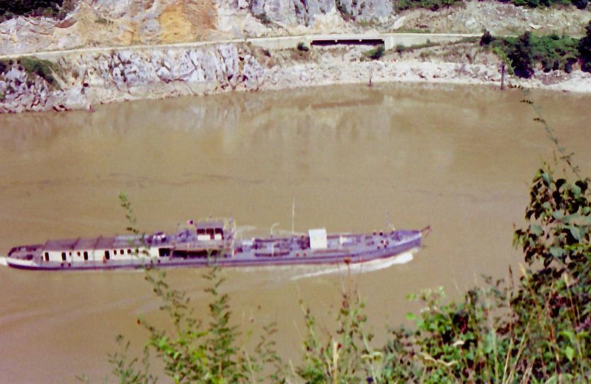 Police boat patrolling the Danube. Archive photograph, 1975