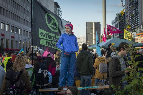 Extinction Rebellion take Potsdamer Platz, Berlin, Germany. A week of world wide protest against climate change and the inaction of governments globally to come to terms with the approaching disaster.